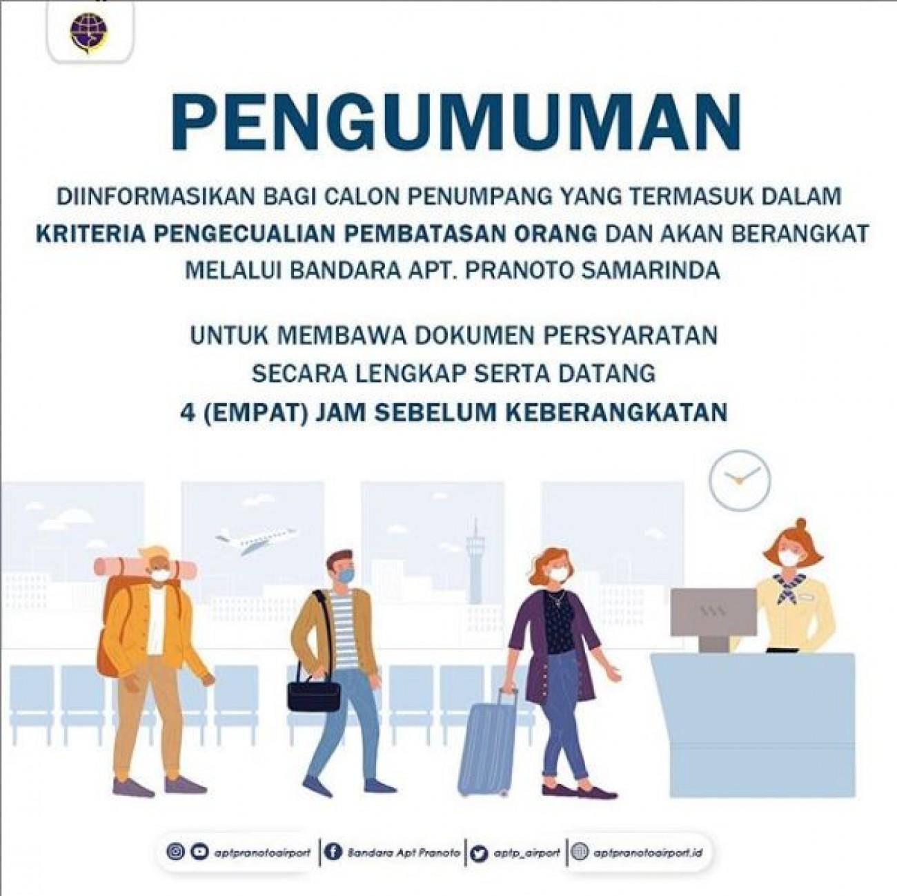 Informasi Bagi Penumpang Bandara APT Pranoto