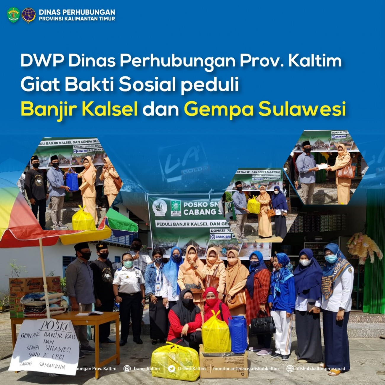 DWP Dinas Perhubungan Prov. Kaltim giat Bakti Sosial peduli banjir Kalsel dan gempa Sulawesi