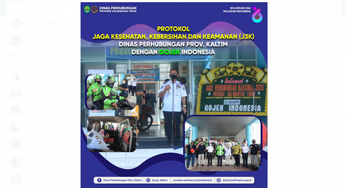 Protokol Jaga Kesehatan, Kebersihan dan Keamanan (J3K) Dinas Perhubungan Prov. Kaltim dengan Gojek Indonesia